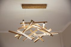 Lampadario di grandi dimensioni in legno LED Lampadario