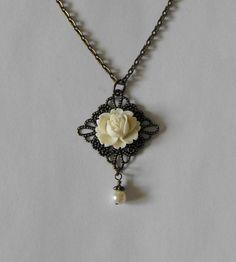 White Rose Flower Necklace Antique Brass by CreativePleasuresEtc, $14.00