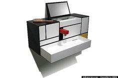 Piet Mondrian-inspired bathroom cabinet