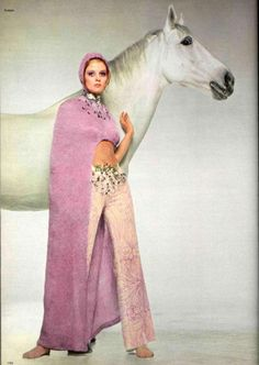 pink fashion  1970s. white horse