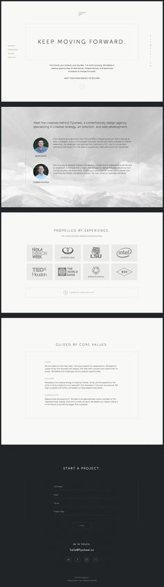 Good use of whitespace and thin lines to create a slick minimalistic aesthetic in this one pager for Flywheel Co. digital agency . The site features an interesting floating left navigation that actually works well. Lovely touch with subtle highlight/fill transition on the form submit button once all fields are populated.