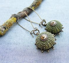 Sea Urchin Collection - Special Brass Green Earrings