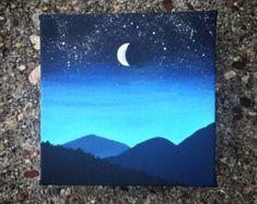 Night sky painting in acrylic. # canvas sky painting Night sky painting in acrylic. Small Canvas Paintings, Small Canvas Art, Easy Canvas Painting, Mini Canvas Art, Diy Painting, Painting & Drawing, Acrylic Canvas, Simple Acrylic Paintings, Easy Paintings
