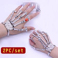 2016 2PC/Set Punk Skull Bracelet Gothic Adjustable Ghost Hand Bracelets Mittens Skeleton Skull Hand Bone Bracelets & Bangles