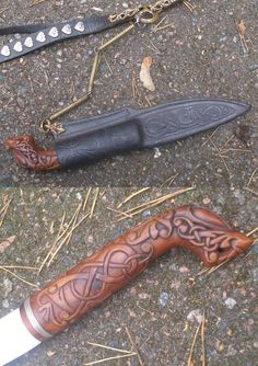 Viking knife with magnificent mythological animal head handle…