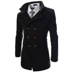be1f6cc6d55 US 37.62 - Mens Solid Double Breasted Mid-Long Thicken Trench Coat