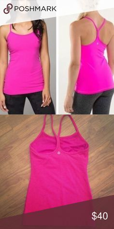 Lululemon hot pink power Y tank Worn twice. Always laid flat to dry and washed on cold. Bright hot pink power Y tank. Perfect condition. Size 6. Ships fast. Comes from smoke and pet free home. A must have for every lululemon collection. 💗 more pics to come. lululemon athletica Tops