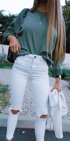 #summer #outfits  Khaki Knit + White Destroyed Skinny Jeans