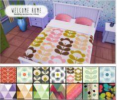 Allisas: Welcome Home - 14 Bedding Recolors for double & single beds • Sims 4 Downloads