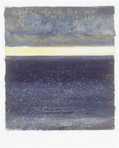 Kurt Jackson 'After dark the sea gets louder' 28 x 24 cm mixed media, collage and etching