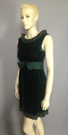 Vtg 60s Lush Rich Forest Green Velvet Satin Trim Cute Mini Cocktail Dress B34 S | eBay