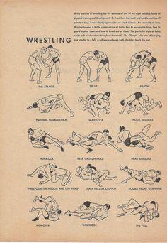 Wrestling, Sports, Boys Bedroom Decor, Vintage Illustration, 1940s, Double Sided Print, Camping