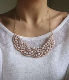 FREE SHIPPING Pearl Statement Necklace by PearlsandGemsJewelry, $29.50