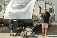 RV, boat and travel trailers power dolly. Discover the easiest parking solution for all your trailer moving needs. Trailer Dolly, Power Trailer, Toy Hauler Trailers, Parking Solutions, Walk Behind, Utility Trailer, Water Crafts, Baby Strollers