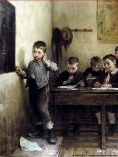 Embarassed Schoolboy (Henri Jules Jean Geoffroy, c. Art And Illustration, Illustrations, Old Paintings, Beautiful Paintings, School Boy, Art School, Figure Painting, Painting & Drawing, Art Ancien
