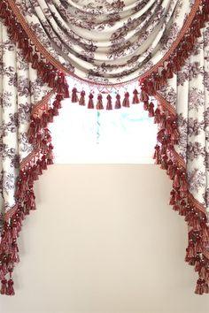 Celuce. Toile De Fleur swag valance curtains