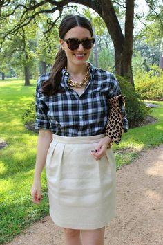 plaid men's shirt & brocade skirt