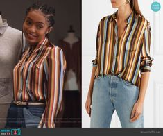 Zoey's striped shirt and patchwork jeans on Grown-ish.  Outfit Details: https://wornontv.net/93098/ #Grown-ish