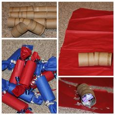Simple and cheap to make. Save toilet paper and paper towel rolls.  Cut the rolls ALMOST completely in half. Lay them on a single half piece of tissue paper.  Stuff them with candy and confetti. Roll up the tube in the tissue paper. Don't use tape. Tie off each end with curling ribbon and curl.  Ta-da a firecracker that kids can easily crack open to reveal confetti and candy.