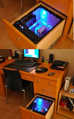 Seems like it could have ventilation issues, but if those could be solved would be a nice way to eliminate desk clutter.