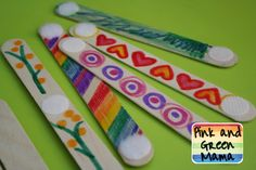 Pink and Green Mama: * Embellished Popsicle Sticks and Velcro Sculptures