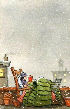 Jonathan Bean, Reading under the snow / Lectura bajo la nieve I Love Books, Books To Read, My Books, Vive Le Vent, World Of Books, Book Nooks, Children's Book Illustration, Book Nerd, Book Lovers