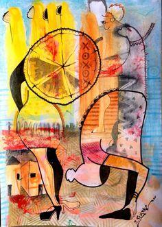 Pintura de João Timane,  artista plástico Moçambicano.   Jovem emergente nas artes plásticas africanas, formado prlw escola de artes Visuais em Maputo.
