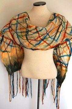 Plaid Silk Scarf Silk Shawl Silk Wrap by LocallySewnTextiles