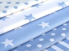Pale Baby Blue 100% COTTON FABRIC FQ or metre STRIPE STARs SPOT quilting BUNTING | eBay