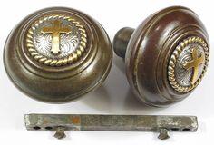 Vintage Door Knobs | Pr Vintage Metal Door Knobs CROSS Button Top By  DroxDesigns