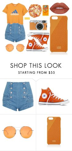 """""""SWMRS"""" by elizz-denne ❤ liked on Polyvore featuring Pierre Balmain, adidas, Converse, Gucci, Native Union and Fujifilm"""