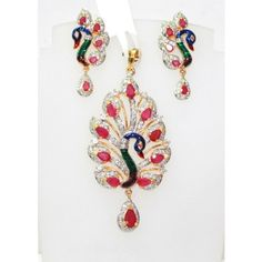GORGEOUS PEACOCK DESIGN COLORFUL CZ PENDANT SET WITH BLUE AND GREEN ENAMELING