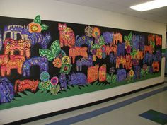 Laurel Burch inspired Cats, via Flickr.  This teacher does a beautiful job with bulletin boards, murals, art show displays.