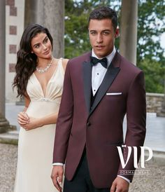 Marbella coat is a 1 button burgundy tuxedo coat with a black peak style lapel