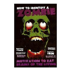 How to Identify a Zombie Art Print Poster  24x36 Poster Print 24x36 ** Continue to the product at the image link.Note:It is affiliate link to Amazon.