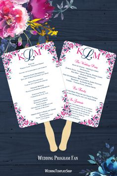 Wedding Program Fan, Edit & Print DIY Templates, Navy & Hot Fuchsia Pink.