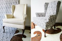 vintage wing back chair in Katherine Rally's Turkish Eye textile in Castle Grey.