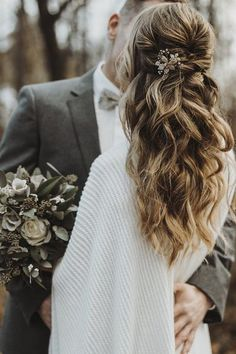 Boho Wedding Hair Half Up, Wedding Curls, Boho Bridal Hair, Wedding Hairstyles Half Up Half Down, Long Hair Wedding Styles, Wedding Hair Pieces, Wedding Hair And Makeup, Boho Bridesmaid Hair, Bridal Half Up Half Down