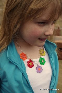 Melted Pony Bead Flower Necklace