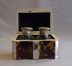 Tortoiseshell and ivory ink box with original inkpots - Gavin Douglas Antiques