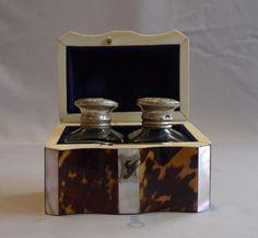 Tortoiseshell and ivory ink box with original inkpots - Gavin Douglas Antiques