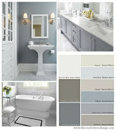 Choosing Bathroom Wall and Cabinet Colors {Paint It Monday} The Creativity Exchange #bathroom