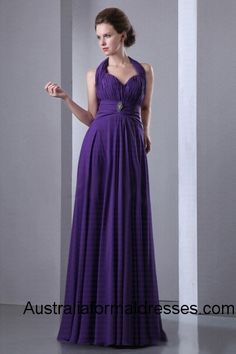 An elegant grape floor-length evening dress featuring with a beading waistband that perfectly sketches the appealing outline of your slender waistline, the sexy halter neckline design show off your long and graceful neck, the pretty layered drapes cascade from the slim fitting ruched bodice to the hemline, along with the exquisite-tailoring empire waist design, this gorgeous evening dress creates an elegant silhouette.