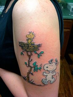 Snoopy and Woodstock tat