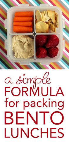 a simple formula for packing bento lunches.pretty much how I pack a lunch Bento Box Lunch, Lunch Snacks, Healthy Snacks, Box Lunches, School Lunches, Lunch Boxes, Healthy Eating, Kids Lunch For School, Get Thin