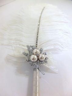 Piume di struzzo grande penna con perla spilla di LoveMimosaFleur