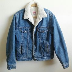 Vintage Levi's Sherpa Denim Jacket Authentic 80's vintage Levi's sherpa jacket with button snap closure, fully lined. Excellent condition. Size marked 44L Vintage Jackets & Coats