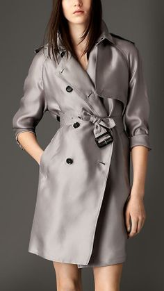 Burberry Long Silk Trench Coat With Oversize Detail