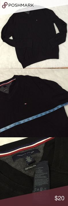 Tommy Hilfiger black XL soft cotton blend sweater Has slight fading in great condition Tommy Hilfiger Sweaters V-Neck