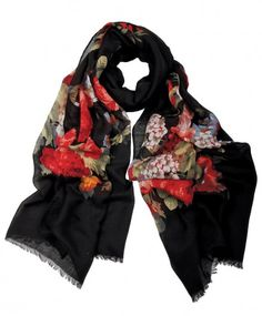Handmade Floral Black Hijab